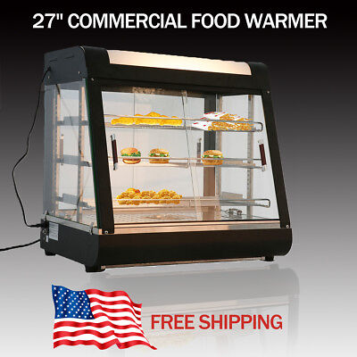 3 Tiers Commercial Food Pizza Warmer Cabinet Counter-top Heated Display Case Us