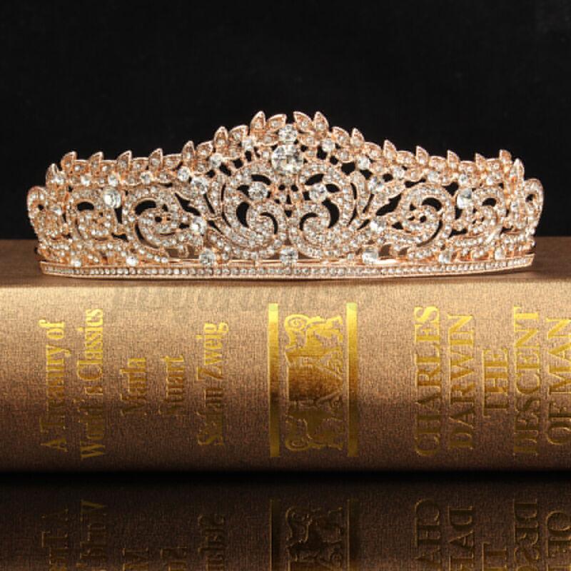 4.5cm High Elegant Leaf Gold Crystal Wedding Party Pageant Prom Tiara Crown US