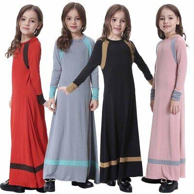 Muslim Girls Milk Silk Child Dress Robe Kids Abaya Burka Arab Prayer Maxi Kaftan - Pageant Robes