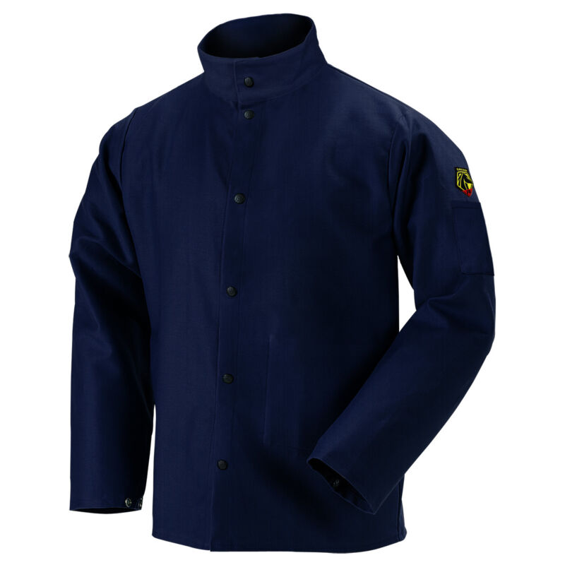 """Revco Black Stallion 30"""" 9 oz Cotton FR Navy Welding Jacket Size Small"""