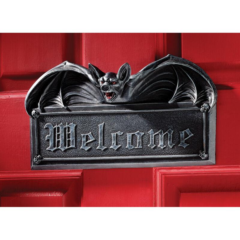 Gothic Goulish Halloween Welcome Ebony Vampire Bat  Wall Door Plaque Sculpture