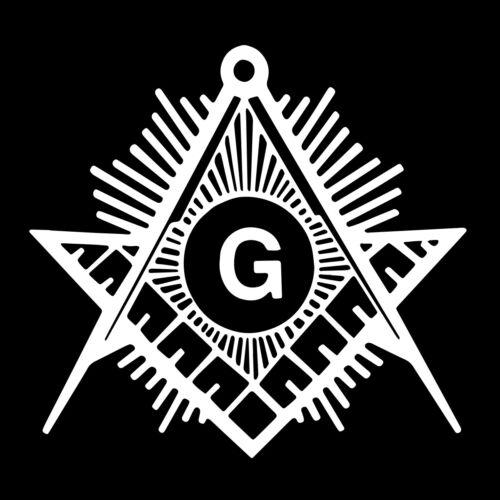 Shining Square & Compass Masonic Vinyl Decal - White 6 Inch