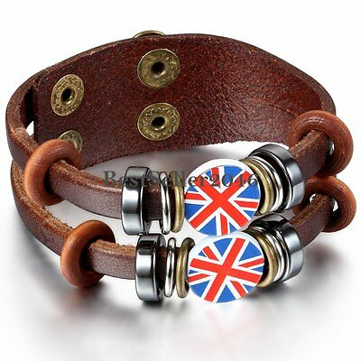 Brown Leather Cord Bracelet - Brown Leather Cord Union Jack UK Flag Surfer Bracelet Wristband for Men Women