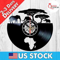 Safari Clock Africa Decorations Vinyl Record Wall Art Elephant Xmas Gifts Women