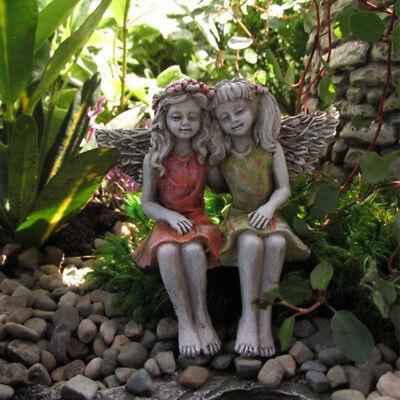 Miniature Fairy Garden Best Friends Figurine Out Door Girls Statue Patio