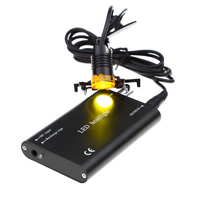 Metal Clip-on 3w Led Headlight With Filter For Dental Binocular Loupes Black
