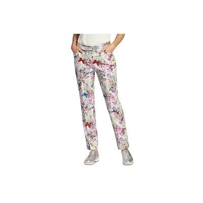 Basler Womens Floral Cotton Casual Straight Leg Pants BHFO 5