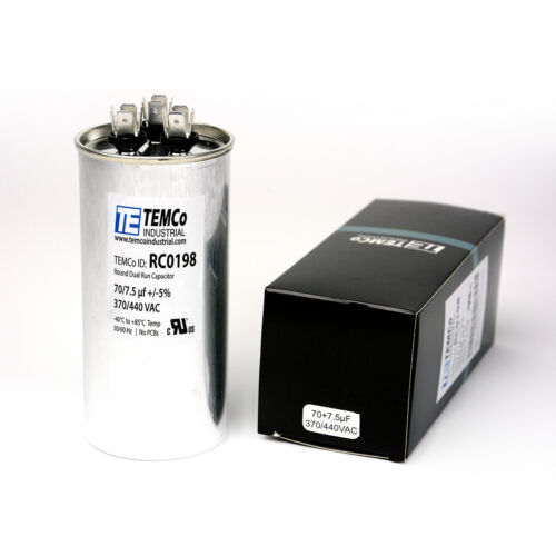 TEMCo 70/7.5 MFD uF Dual Run Capacitor 370 440 vac Volts AC Motor HVAC 70+7.5
