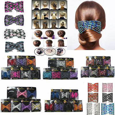 - 6 Pieces Beads Hair Combs Magic Elastic Hair Double Clips Stretchy Hairpin Updo