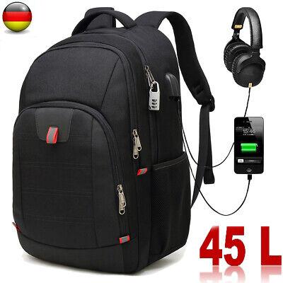 45L Rucksack Herren Schulrucksack 13-17zoll Laptop Tasche Sport Backpack Schwarz