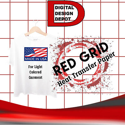 Light Fabric Iron Inkjet Heat Transfer Paper Red Grid 8.5x11 200 Sheet