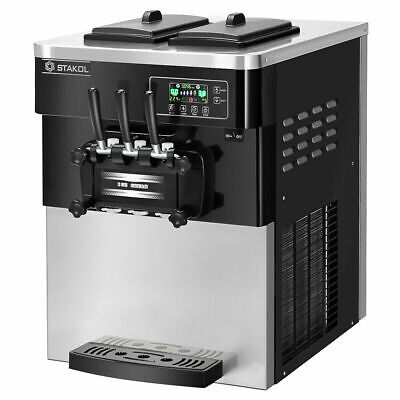 2200w Commercial 3 Flavor Ice Cream Machine Stainless Steel 20-28lh Lcd Display