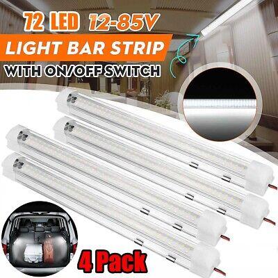 4X 72 LED Interior Light Strip Bar Car Van Bus Caravan ON/OFF Switch 12V 12 VOLT