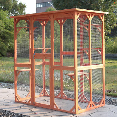 Catio/Cat Lean to Outdoor House 5.9ft Tall With Shelves Secure Run wood Cage