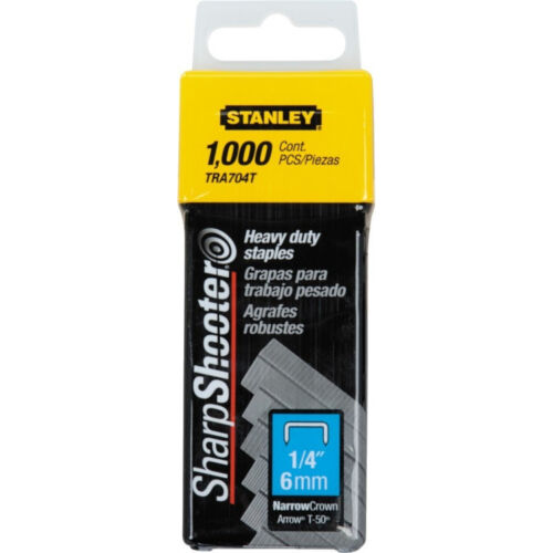 Stanley Sharp Shooter NarrowCrown Staples 1/4 Inch 1,000 Pack TRA704T