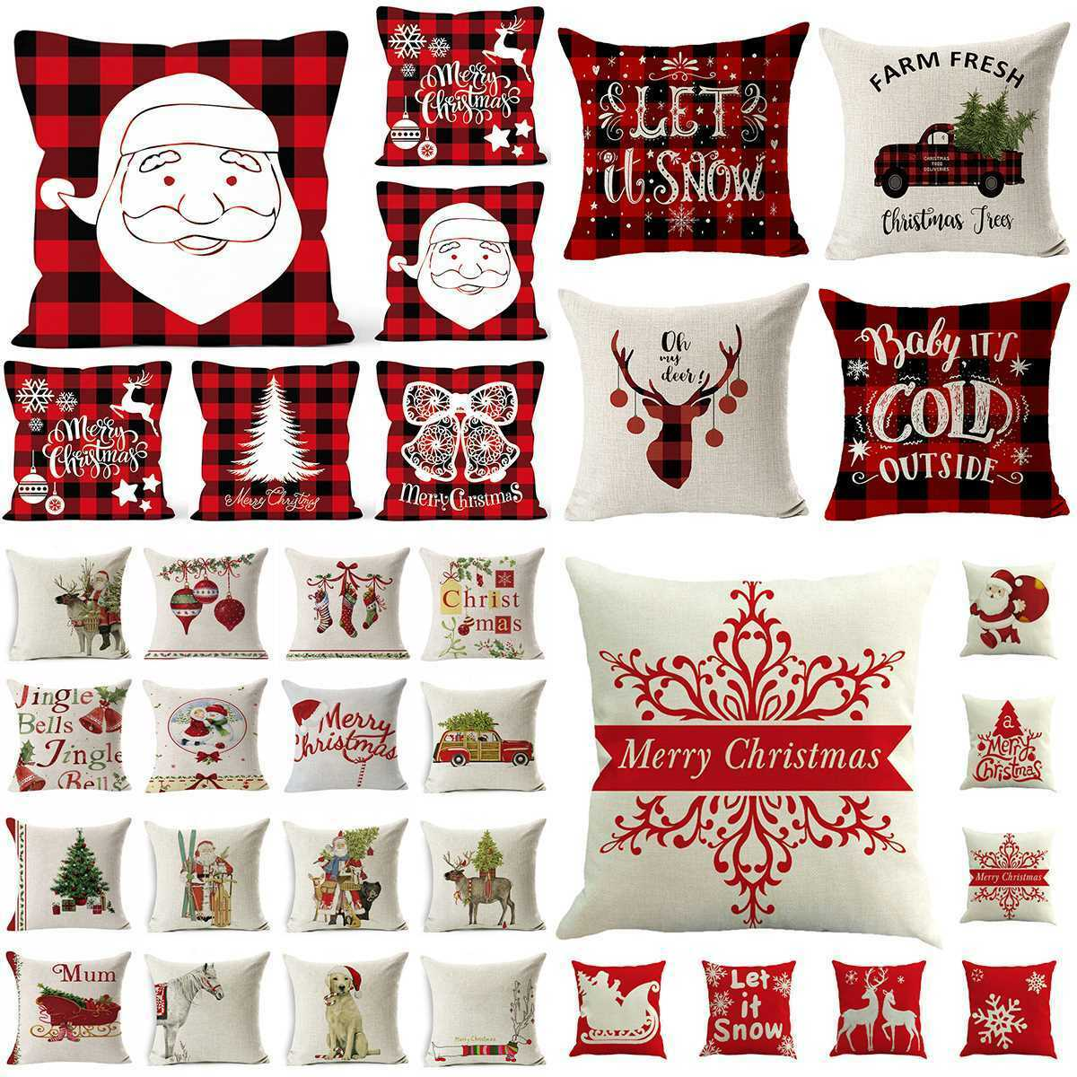 "18"" Christmas Cotton Linen Throw Pillow Case Sofa Waist Cush"