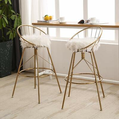 Set of 2 Swivel Barstools Upholstered Metal Bar Stools Counter Height Bar -