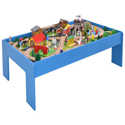 108 Pieces Kids Train Track Table Set Wood Toy Railway Children Play Set New