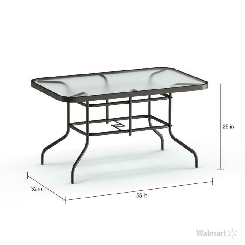 "Patio Table Porch Outdoor Tempered Glass Metal  31.5"" x 55"""