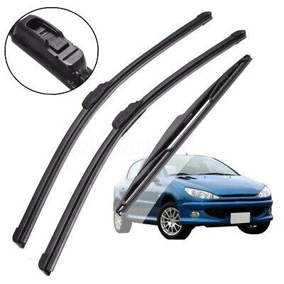 3pc For Peugeot 206 2A/C 1.4 HDI ACP Front/Rear Wiper Blades Windscreen Window