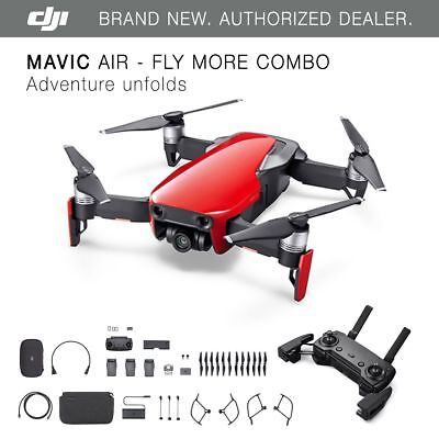 Dji Mavic Air   Flame Red Drone   Fly More Combo   4K Camera