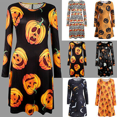 Candy Dresses For Halloween (Hot Women Pleated Long Sleeve Halloween Retro Vintage Candy Pumpkin Casual)