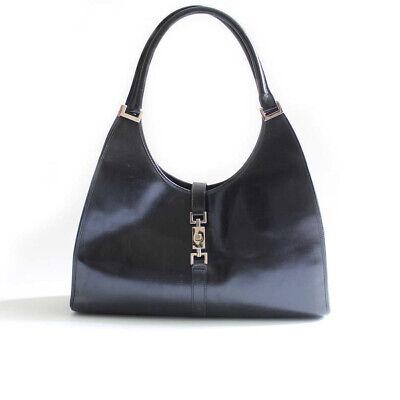 Gucci Jackie Black Leather Handbag eShoulder Bag Vintage Silver Metal Fittings