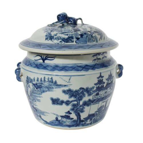 "Blue & White Porcelain Landscape Rice Jar with Lid 9"" Tall"