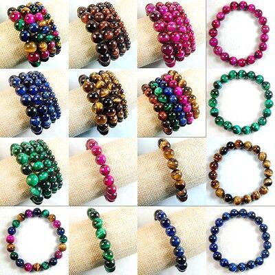 Tiger Eye Gemstone Beads - Handmade Colorful Tiger's Eye Gemstone Round Beads Stretchy Bracelet