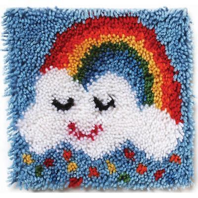 """Rainbow Sprinkles Latch Hook Kit 12x12"""" Caron. Plain canvas, graph and yarn"""