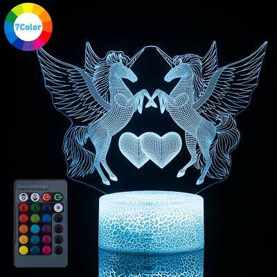 3D Unicorn Night Light Remote Touch LED Illusion Lamp Desk Lantern for Kids Gift - Kid Lantern