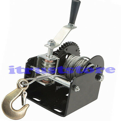 2000 Lb Capacity Worm Gear Hand Winch Puller For Boats Trailers Pickups Atv