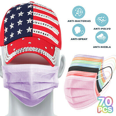 70 Pcs - 7 Colors - 3-ply Disposable Procedural Protective Respirator Face Masks