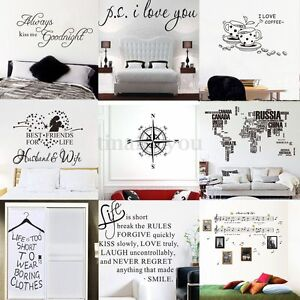 DIY Vinyl Quote Art Wall Stickers Home Room Bedroom Decor