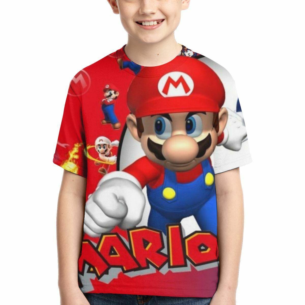 Super Mario Bros Mario Luigi Print Kids Boys T Shirt Cartoon Crew