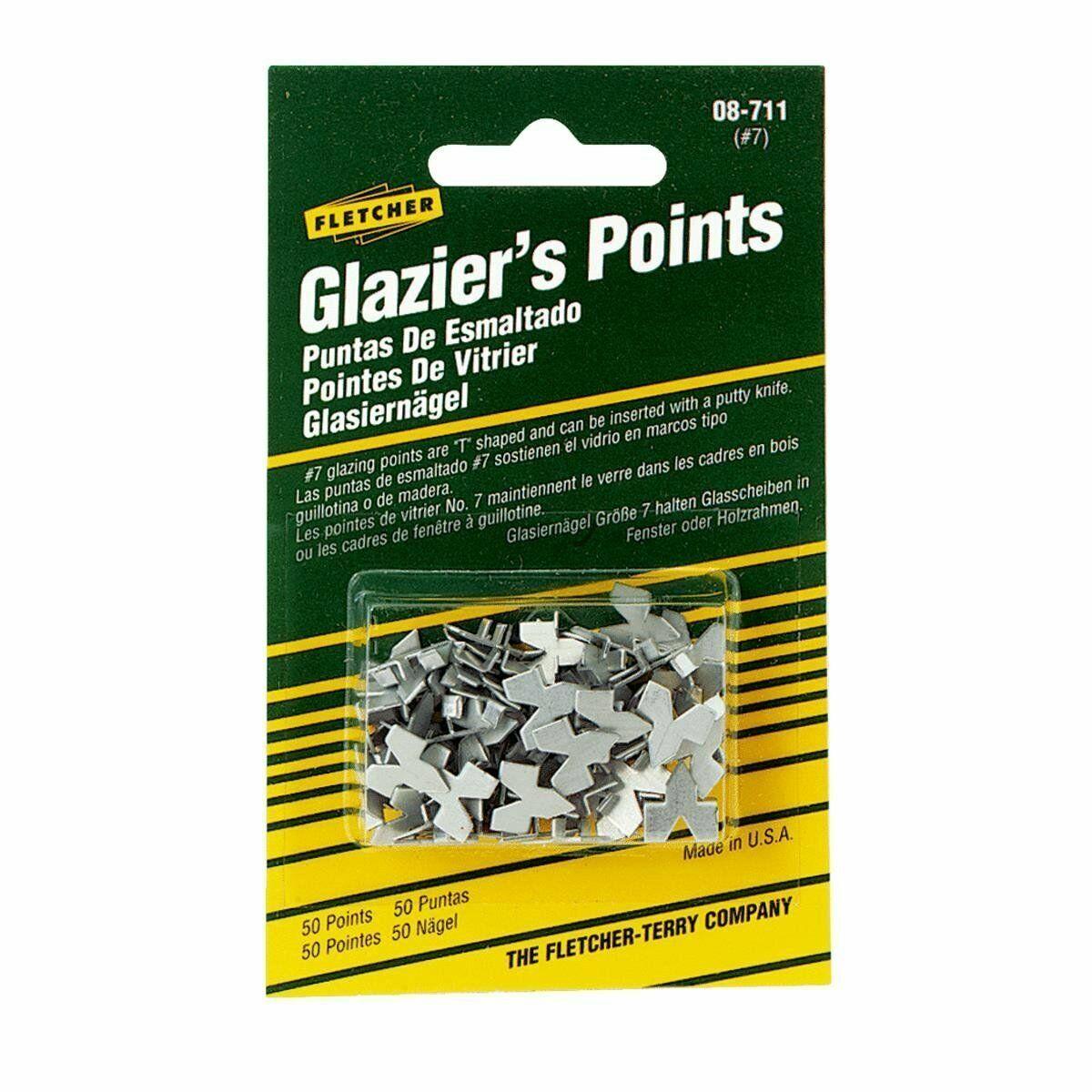 New Fletcher 50 pk Glazier's Push Points for Glazing Window Glass 08-711 Crafts