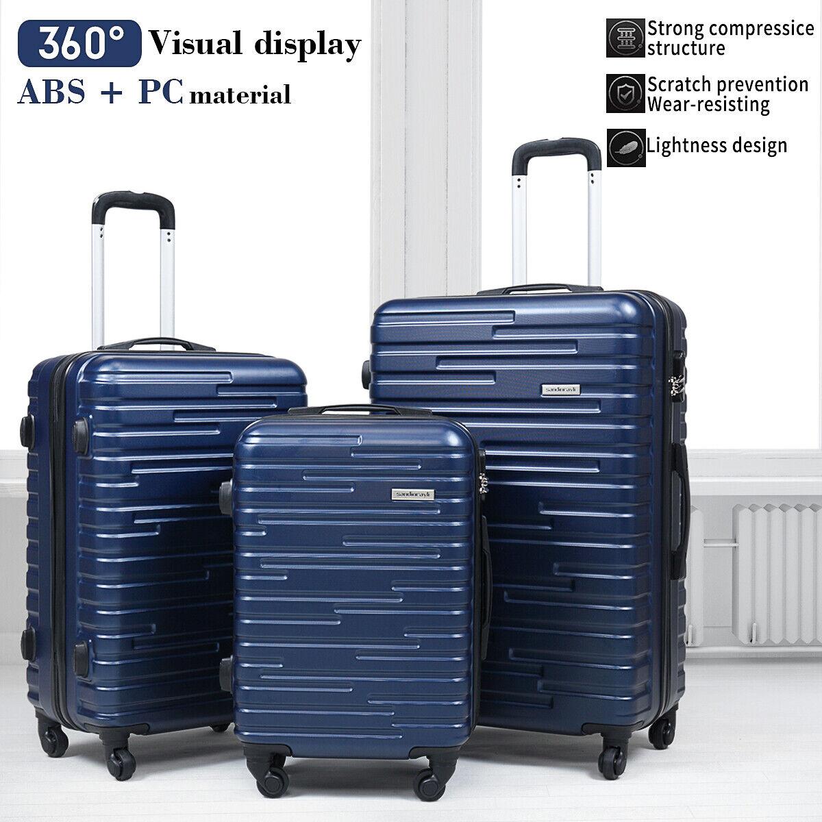 3 piece luggage set travel suitcase blue