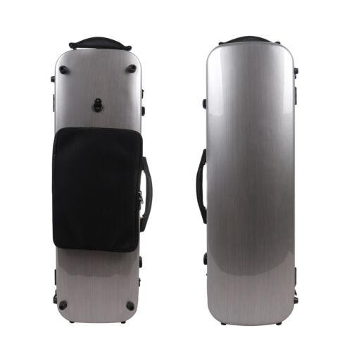 4/4 Violin Case Full Size Carbon Fiber Violin Box Protect Carry Violin Silver