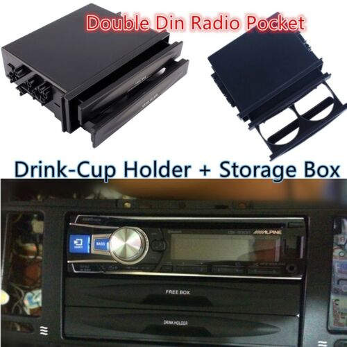 Universal Car truck Black Double Din Radio Pocket Drink-Cup Holder Storage Box