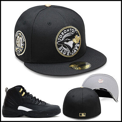 New Era Toronto Blue Jays Fitted Hat Black Circled Gold For Jordan 4 Royalty