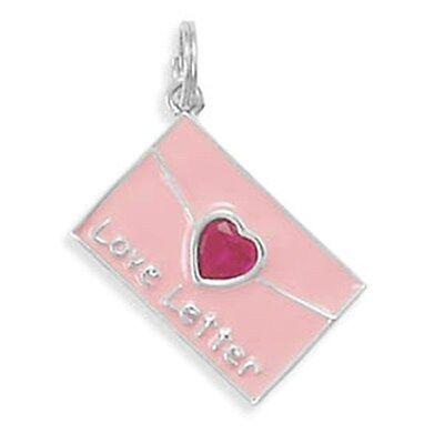 Sterling Silver Pink Enamel & Red Crystal Love Letter Charm    - Enamel Love Letter Charm