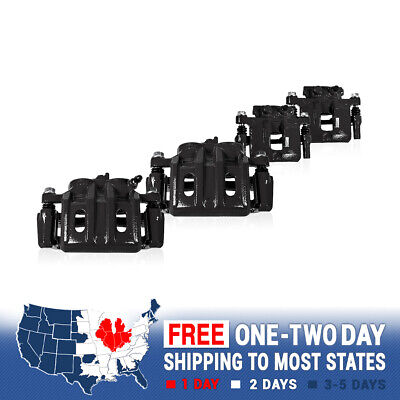 Front + Rear Black Powder Coated Brake Calipers For Cadillac Chevy GMC