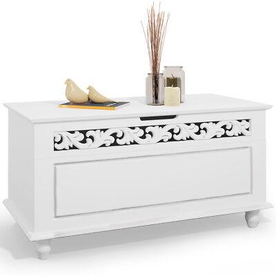 DEUBA® Holztruhe Jersey Truhe weiß Aufbewahrungstruhe Wäschetruhe Sitzbank Kiste