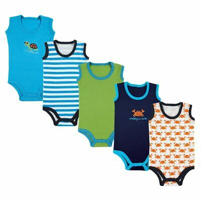 Luvable Friends Sleeveless Bodysuits, 5-Pack, Blue Crab