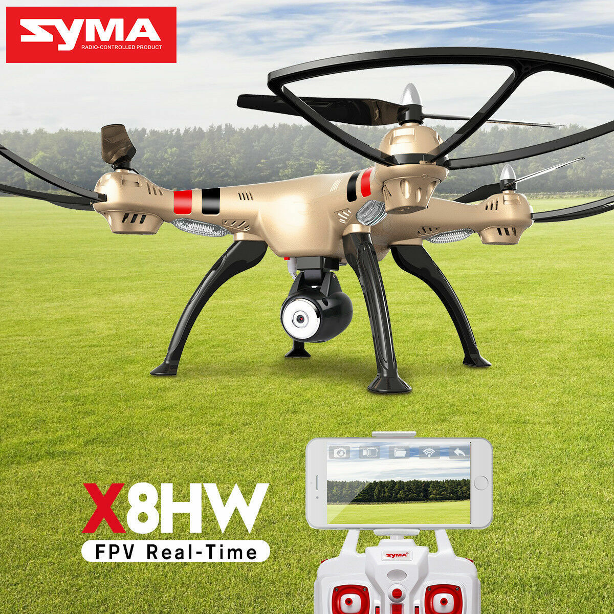 SYMA X8HW  RC Drone With HD Camera Wifi FPV Remote Control 2.4 Ghz Helicopter