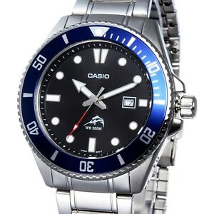 Casio MDV106D-1A2 Mens 200M Diver Stainless Steel Watch Black Dial Blue Bezel