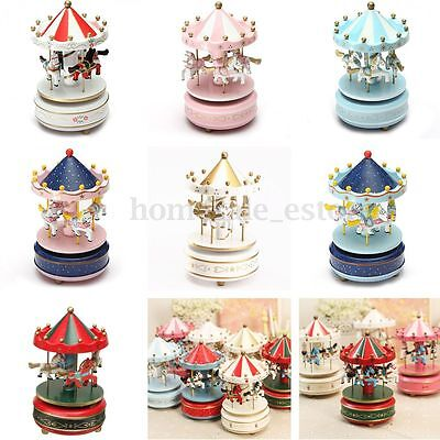 Wooden + Plastic Merry-Go-Round Carousel Music Box Christmas Birthday Gift Toy