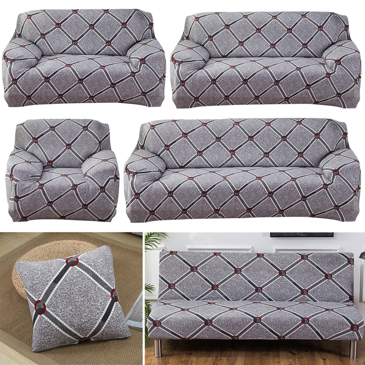 1-4 Seater Elastic Sofa Cover Slipcover Couch Stretch Arm Ch