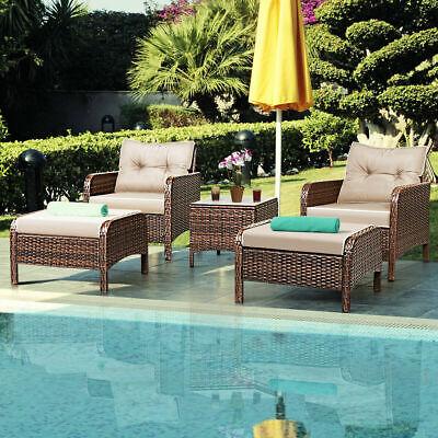 Garden Furniture - 5 PCS Rattan Wicker Furniture Set Sofa Ottoman W/ Cushions Patio Garden Yard NEW