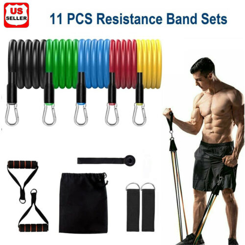 11 PCS Resistance Band Set Yoga Pilates Abs Exercise Fitness Tube Workout Gym US Fitness Equipment & Gear